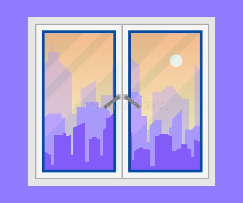 窗口和城市视图 晚上城市地平线剪影 横向现代都市 都市风景背景 平的样式传染媒介 皇族释放例证