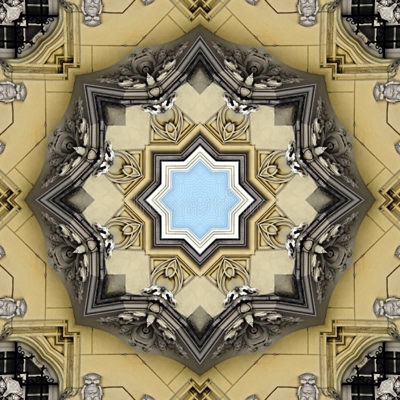 窗口和墙壁的金银细丝工的样式有灰泥装饰的 库存例证
