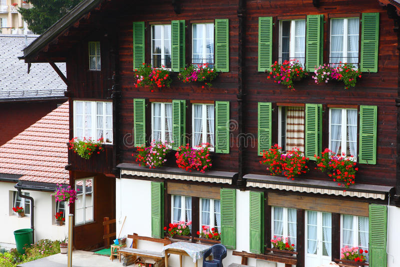 窗口在大厦开花在文根,瑞士 库存照片
