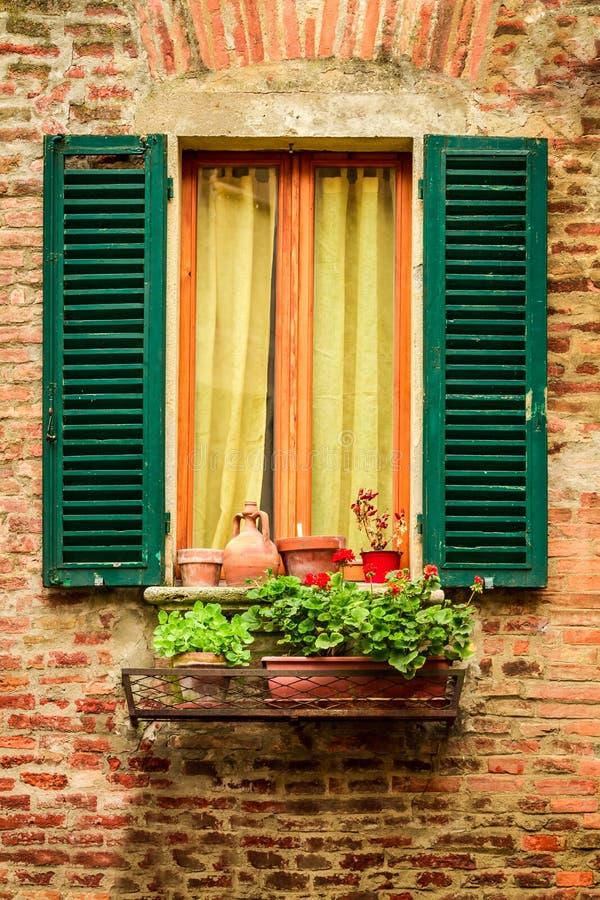 窗口在用花盆和花装饰的一个老房子里 图库摄影