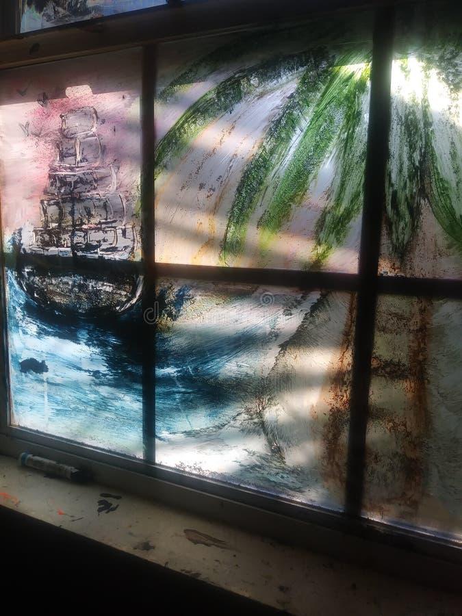 窗口绘画 免版税库存照片