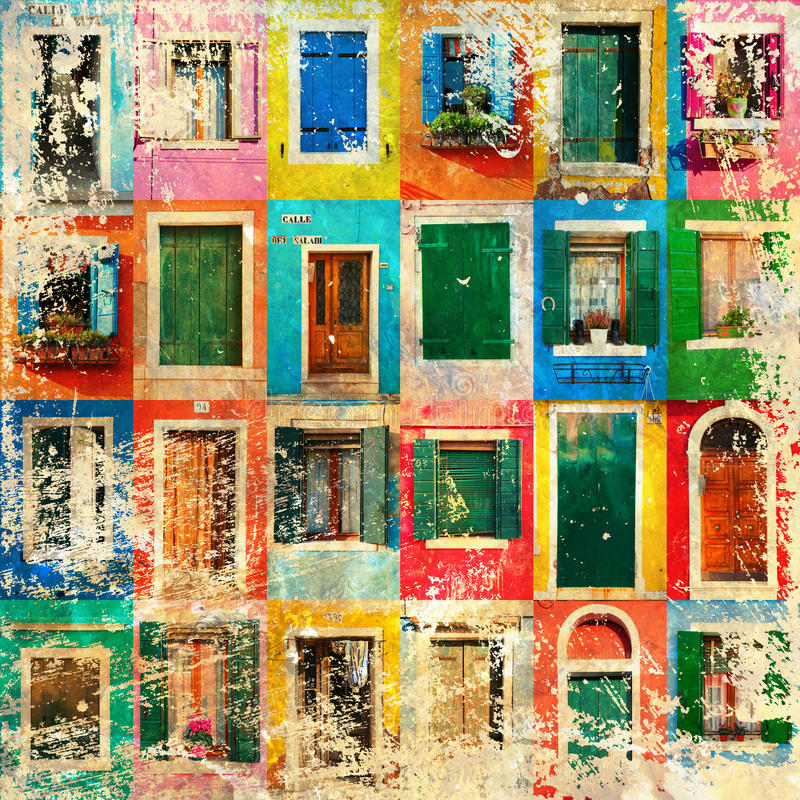 窗口和门拼贴画与难看的东西纹理的 免版税图库摄影
