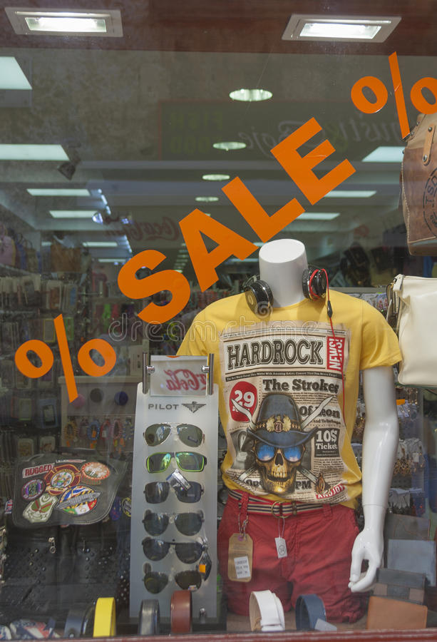 窗口购物在Porec,克罗地亚 免版税库存照片