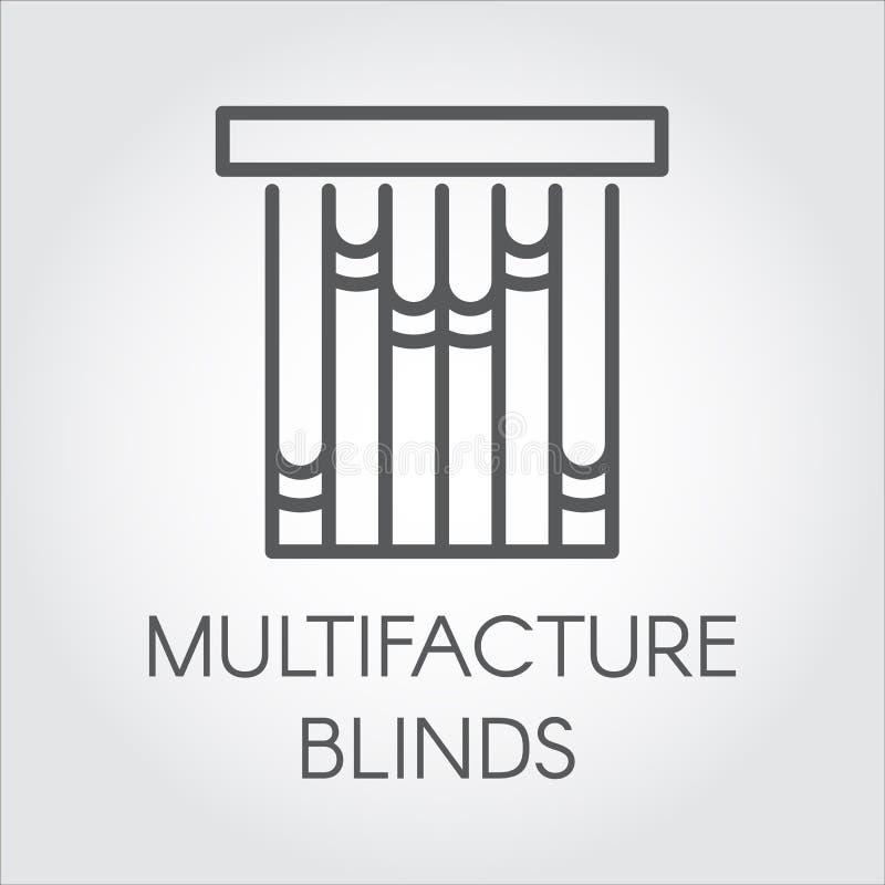窗口multifacture蒙蔽在概述样式的象 导航家和办公室室内设计概念的标志 皇族释放例证