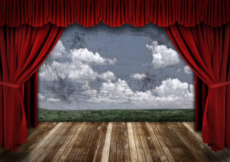 窗帘严重的红色阶段剧院天鹅绒 免版税图库摄影