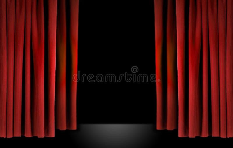窗帘典雅的红色阶段剧院天鹅绒 库存图片