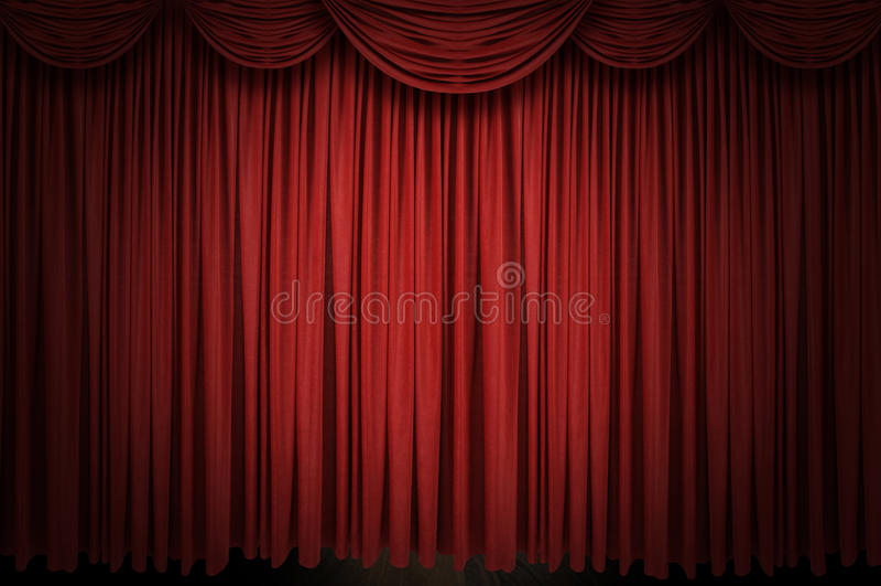 窗帘大红色阶段 库存图片