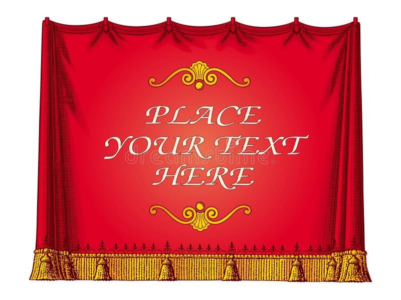 窗帘框架红色向量 皇族释放例证
