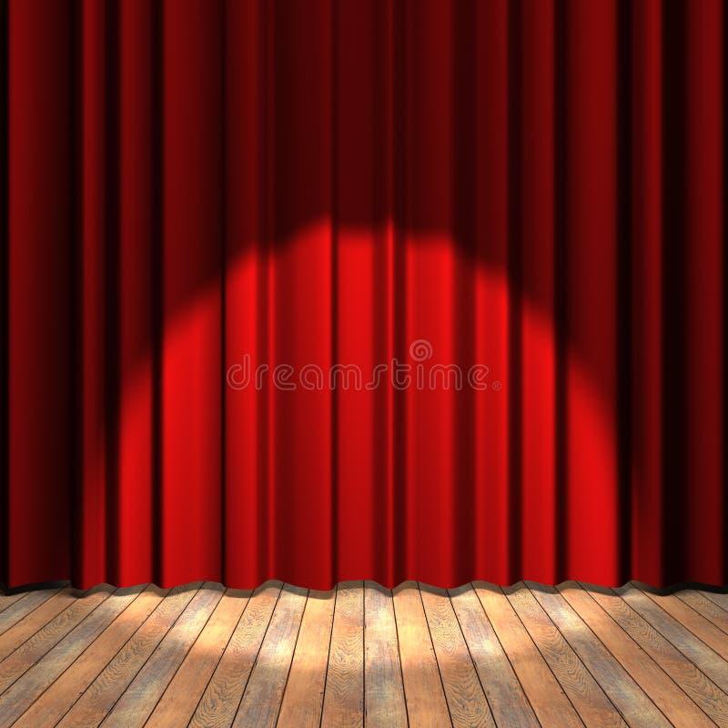 窗帘浅红色的地点阶段 免版税库存照片