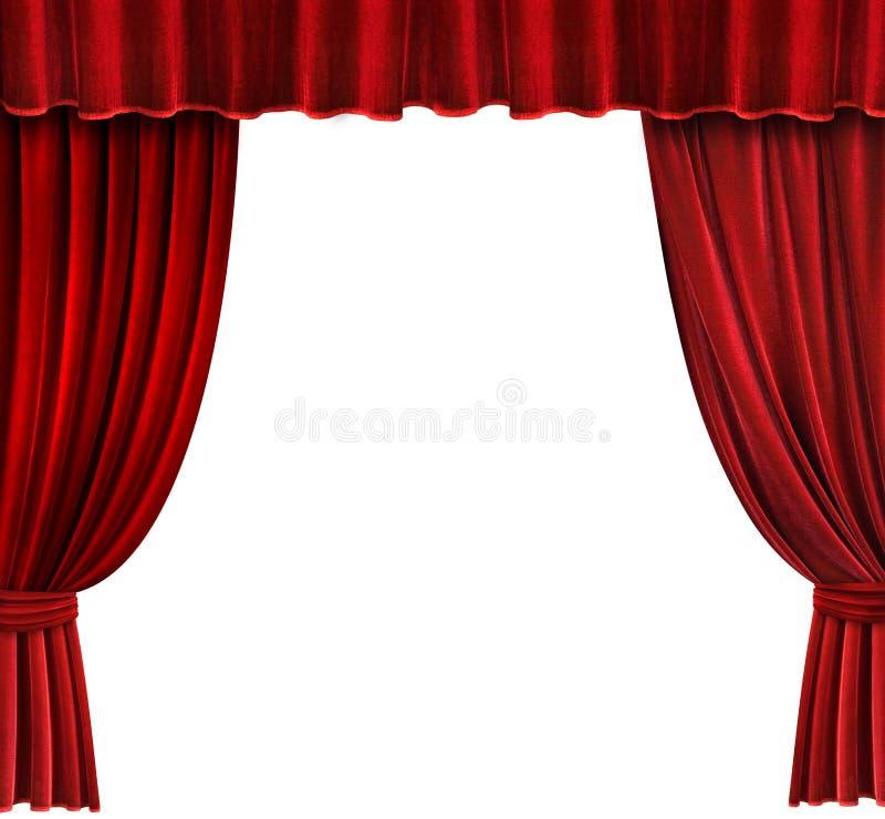 窗帘红色剧院天鹅绒 库存图片
