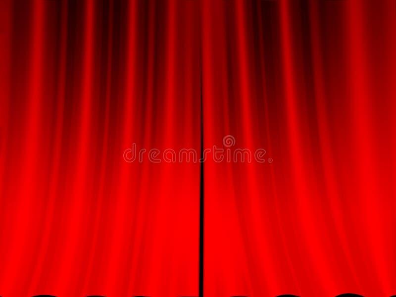 窗帘红色阶段 库存例证