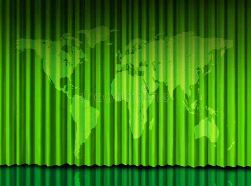 窗帘绿色阶段剧院世界 库存例证
