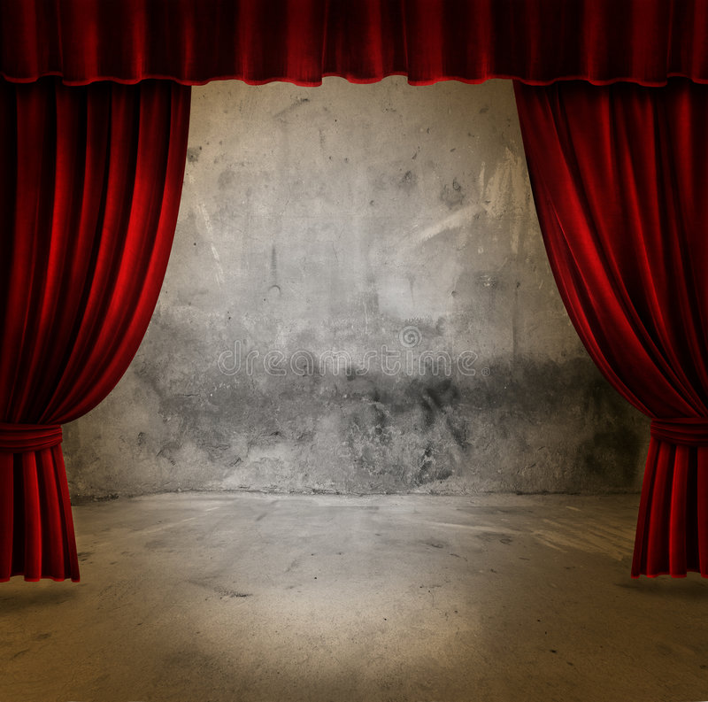窗帘阶段天鹅绒 库存照片