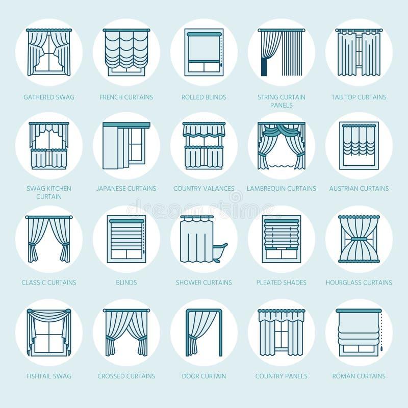 窗帘,树荫线象 各种各样的室使变暗的装饰, lambrequin,赃物,法国帷幕,窗帘和 库存例证