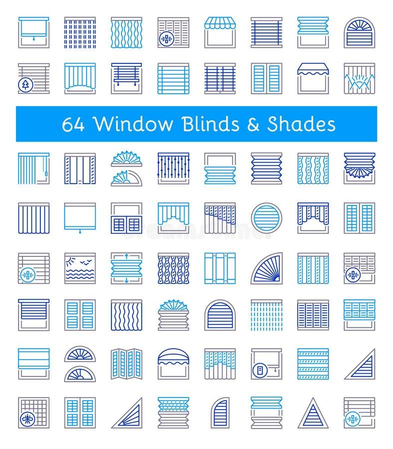 窗帘&树荫 太阳保护 不同的种类百叶窗 L 库存例证