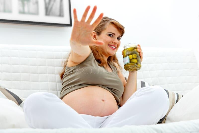 窘迫藏品瓶子腌制孕妇 库存照片