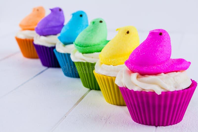 窥视复活节杯形蛋糕 免版税库存图片