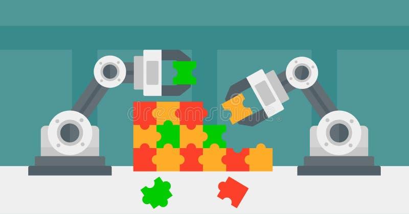 comp 建立一个五颜六色的难题的两条机器人胳膊 解决七巧板的机器人
