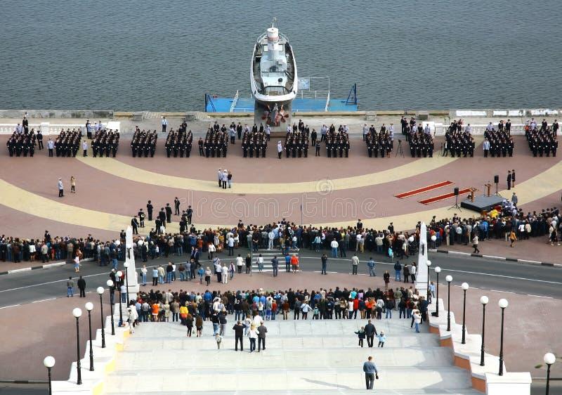 立下下诺夫哥罗德警校军校学生的誓言 免版税库存照片