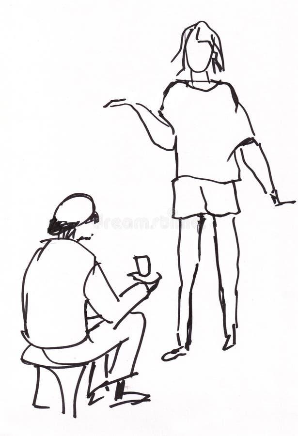 立即剪影、男人和妇女 库存例证