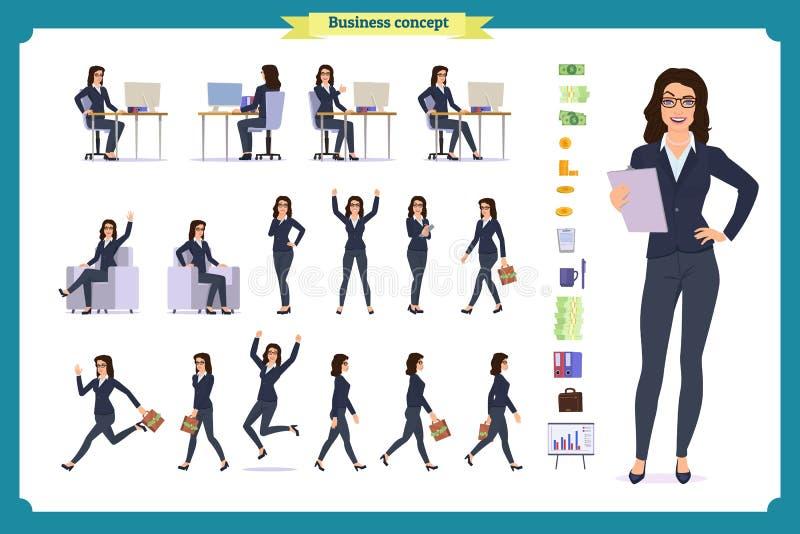 立即可用的夫人字符集 礼服的年轻女商人 不同的姿势和情感 库存例证