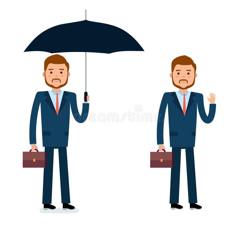 立即可用的字符创作集合 拿着伞的商人,招呼 皇族释放例证