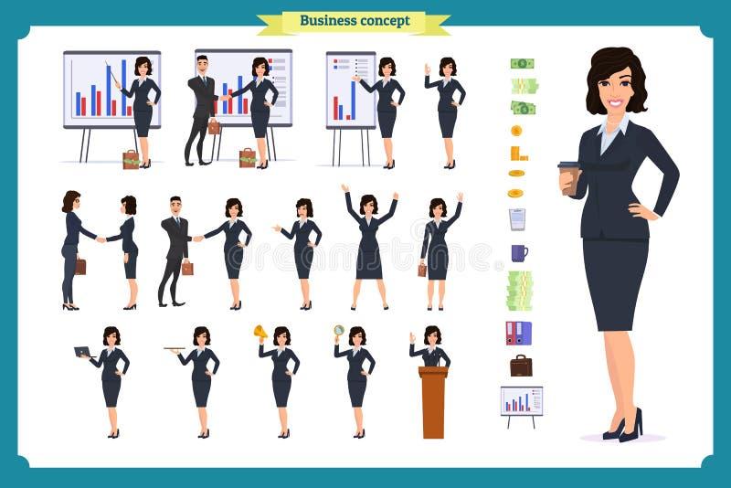 立即可用的字符集 礼服的年轻女商人 不同的姿势和情感 皇族释放例证