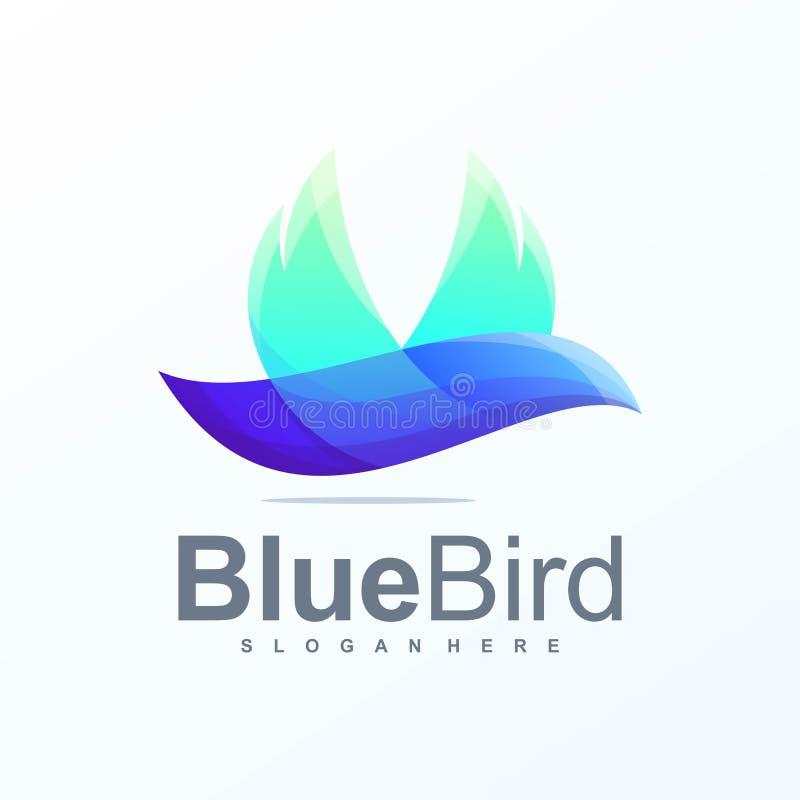 立即可用蓝色鸟商标的设计 向量例证
