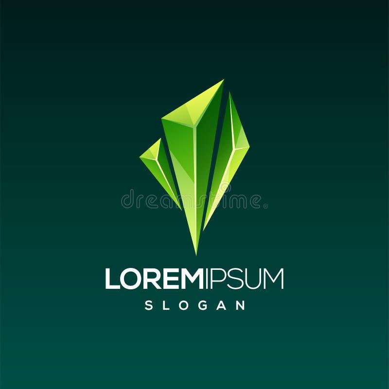 立即可用鲜绿色宝石商标的设计 库存例证