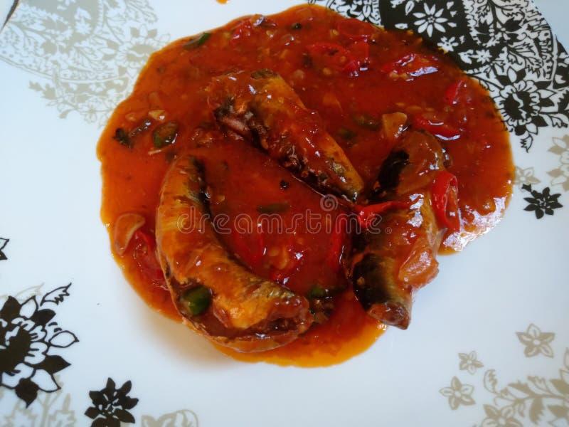 立即可食的balado沙丁鱼 库存照片
