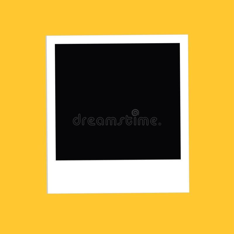 立即大照片 平的设计样式 黄色背景 模板 皇族释放例证
