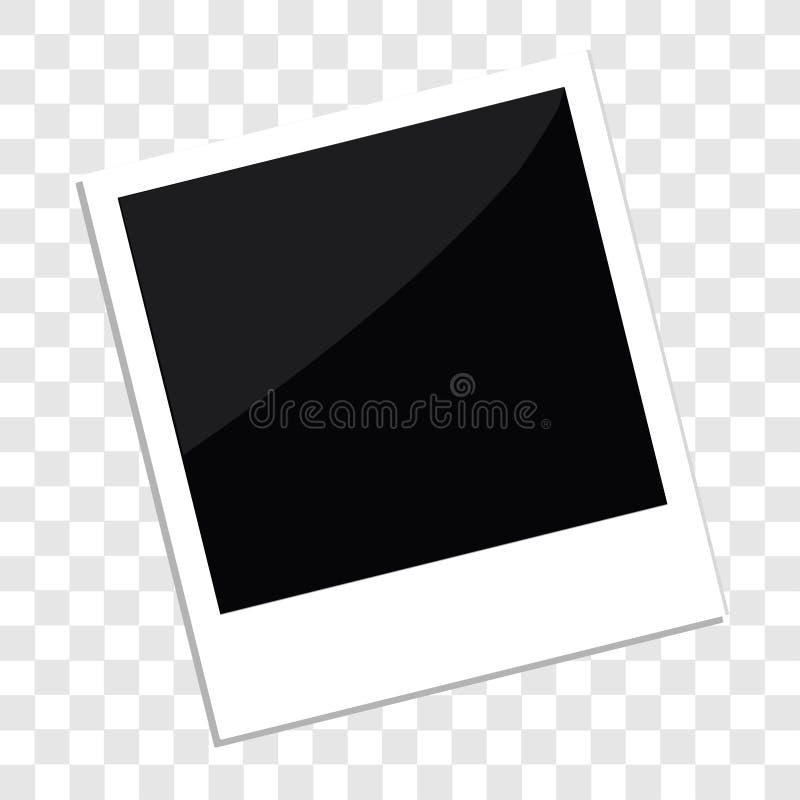 立即照片在平的被隔绝的设计样式模板透明背景中 库存例证