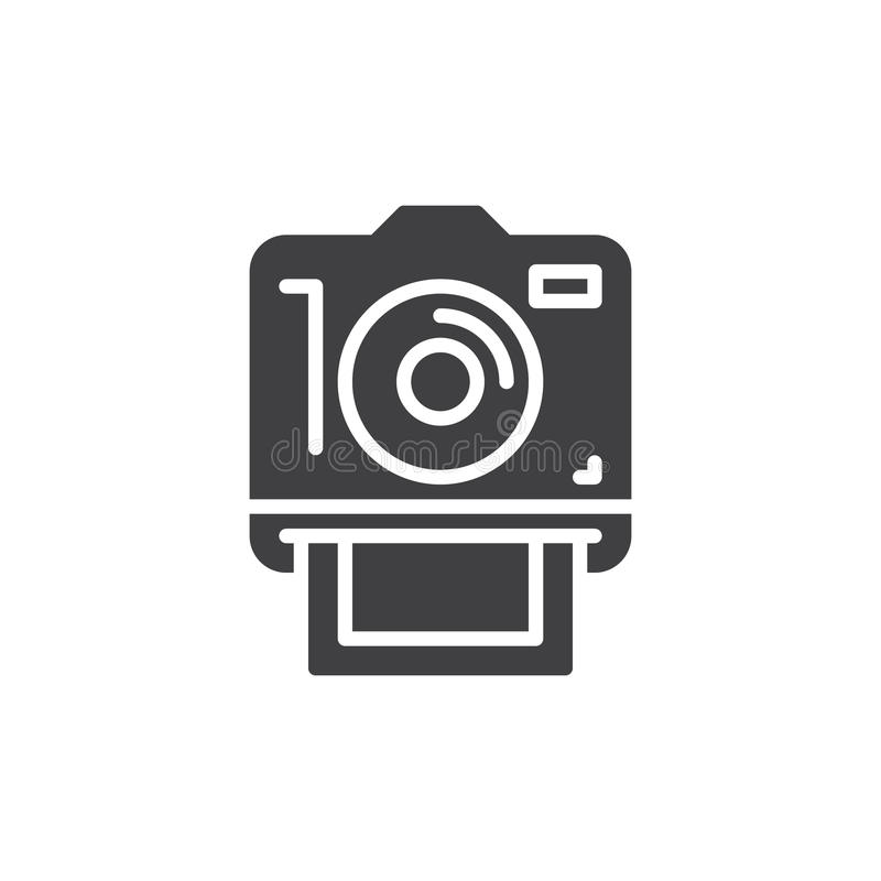 立即照片照相机,象传染媒介,填装了平的标志 库存例证