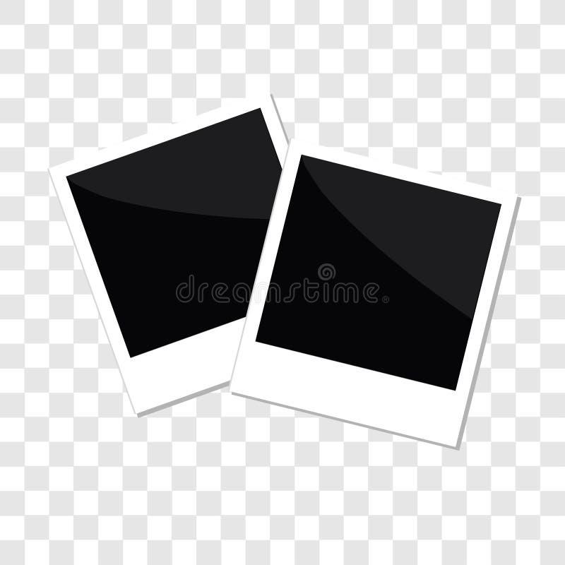 立即照片集合在平的被隔绝的设计样式模板透明背景中 向量例证