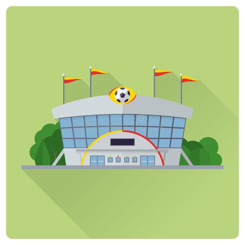 建立平的设计传染媒介例证的足球场 皇族释放例证