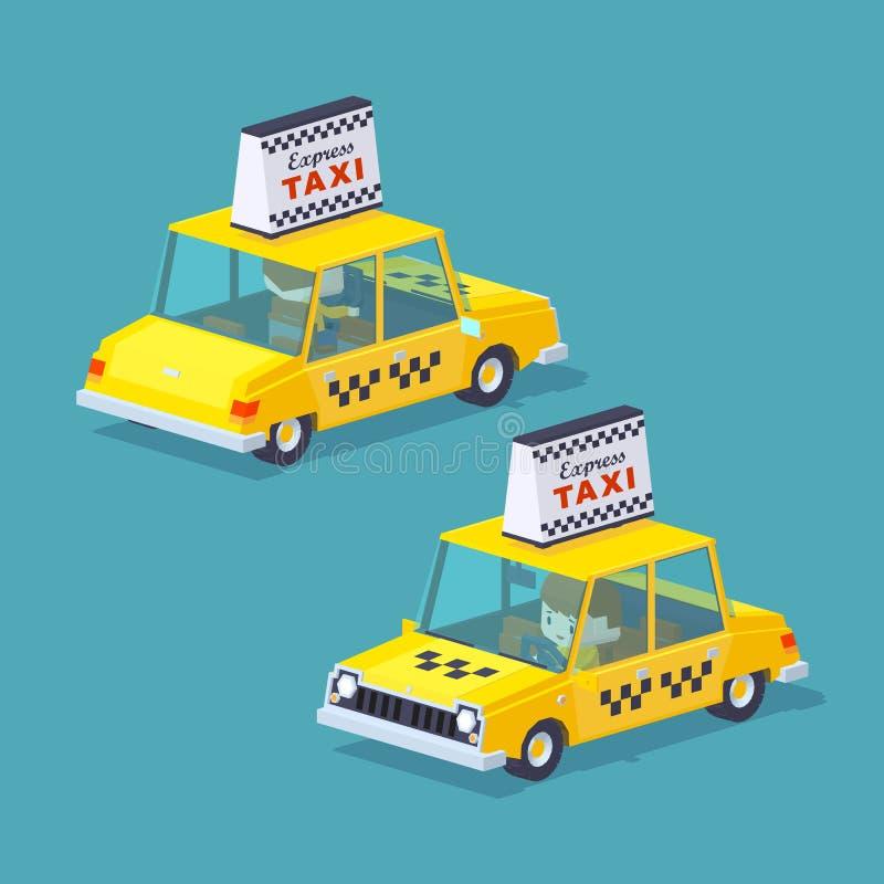 立方体世界 出租汽车黄色 向量例证