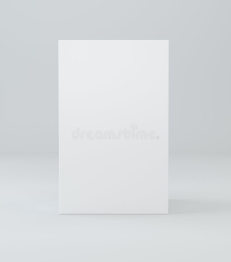 立方体产品纸板包裹箱子 3d在演播室光白色背景的例证 模板的嘲笑准备好您 库存例证