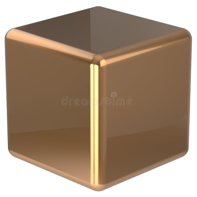 立方体几何形状模子阻拦基本的金黄箱子的实心砖 库存例证