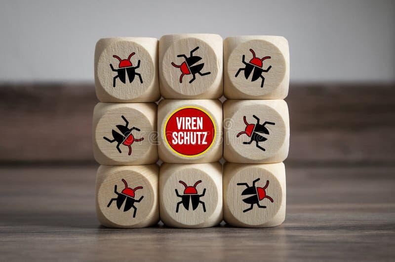 立方体切成小方块与病毒保护的- Virenschutz德国词 免版税库存图片