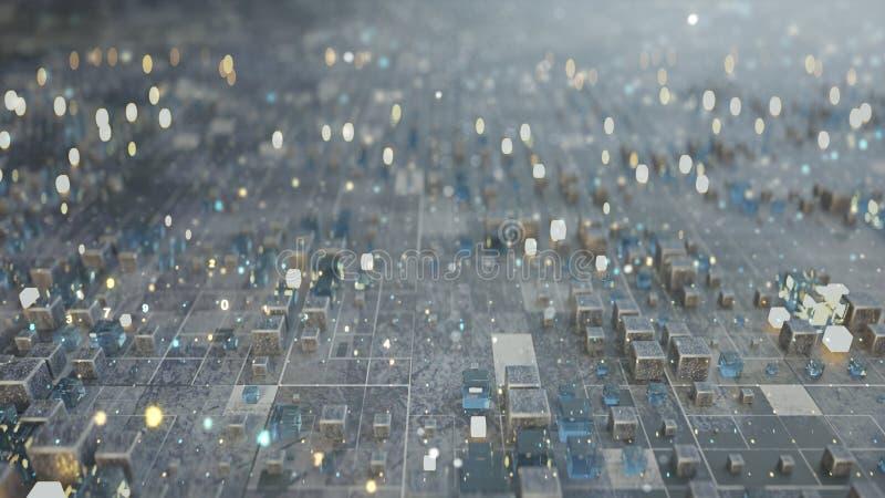 立方体和数字代码3D未来派矩阵回报 皇族释放例证