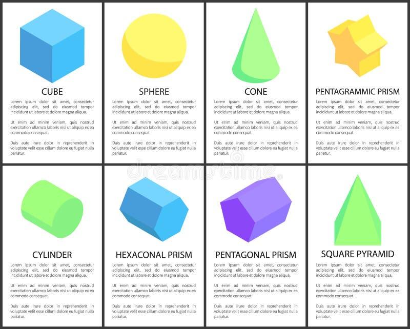 立方体和球形海报被设置的传染媒介例证 皇族释放例证