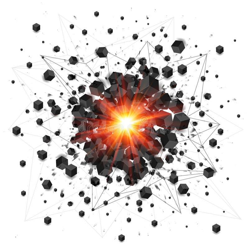 黑立方体和红火爆炸 库存例证