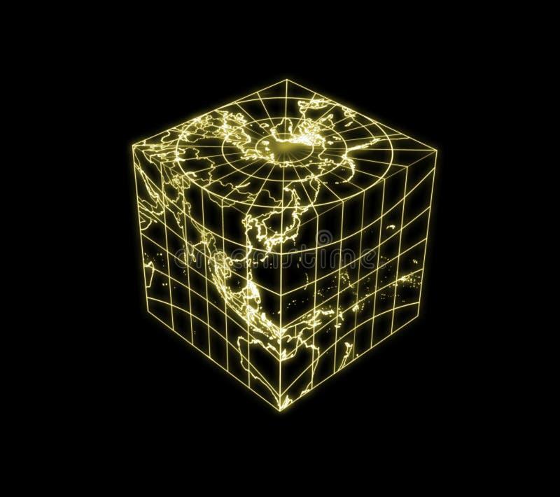 立方体地球地球光映射分级显示 库存例证