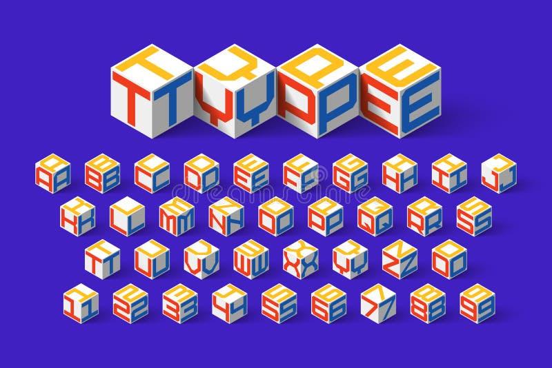 立方体形状3d等量字体 库存例证