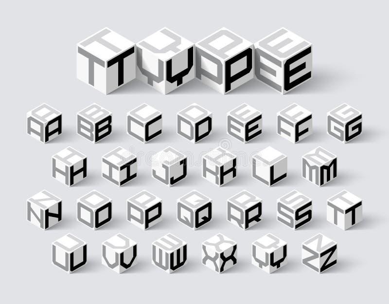 立方体形状3d等量字体 皇族释放例证