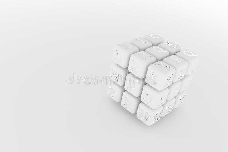 立方体或块的例证,ABC标志或者标志图形设计或墙纸的 灰色或黑白b&w 3D回报 库存例证