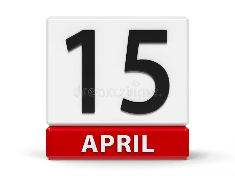 立方体排进日程4月15日 库存例证