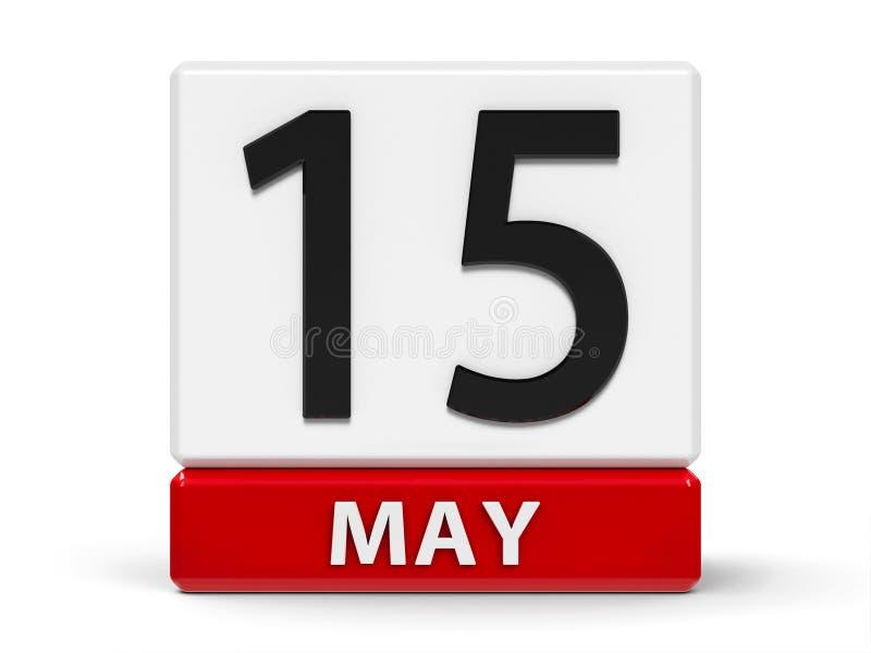 立方体排进日程5月15日 向量例证
