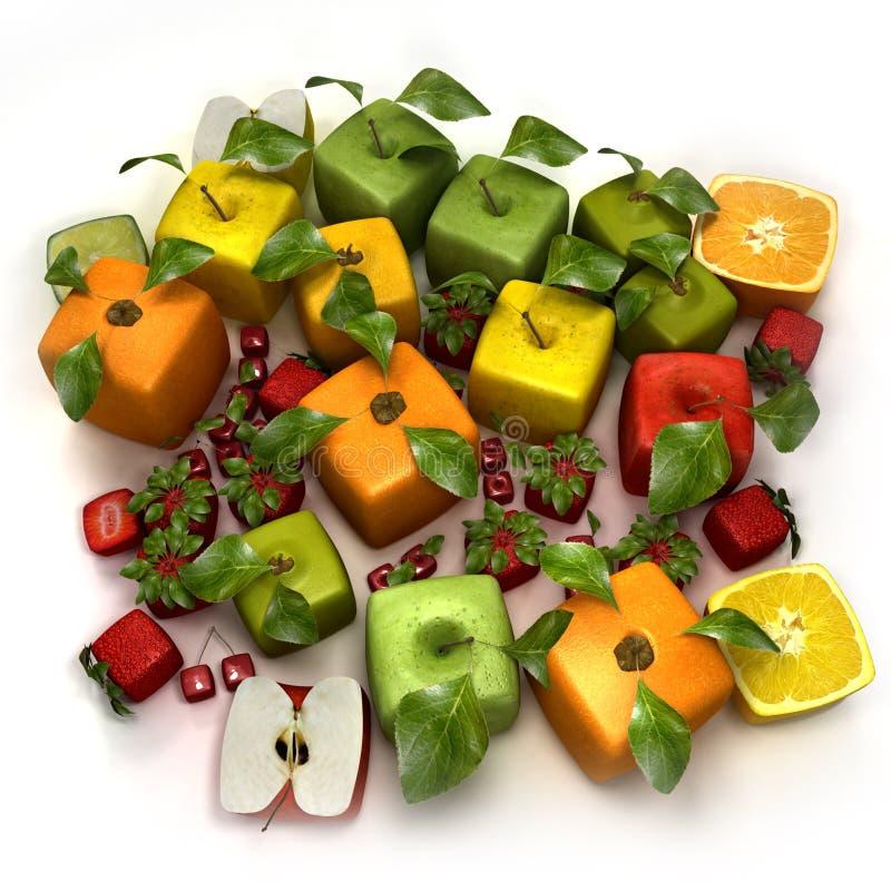 立方体新鲜水果 库存例证