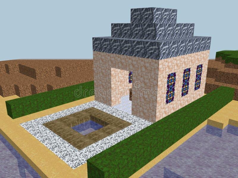 立方体映象点教会世界 库存例证